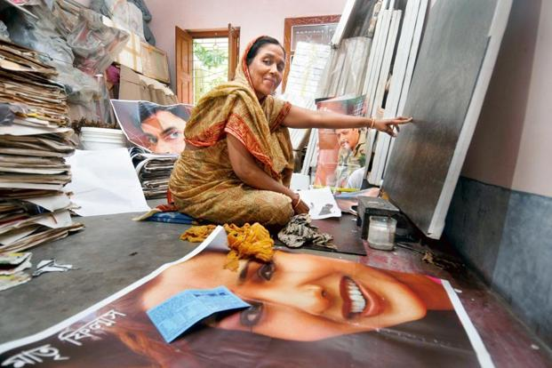 Shakila in her studio at her house in Noorgram. Photo: Indranil Bhoumik/Mint